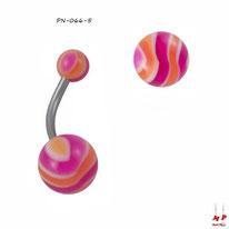 Piercing nombril à boules acryliques rayées magenta et oranges