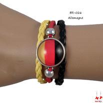 Bracelet en similicuir aux couleurs du drapeau de l'Allemagne