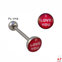 Piercing langue boule plate I love you rouge et blanc en acier inox