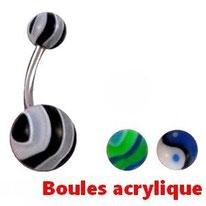 Piercings nombril boules acrylique sur Modet Plaisirs