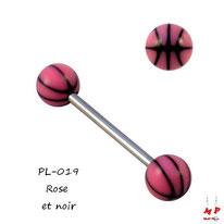 Piercing langue boules ballons de basket roses et noirs