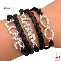 Bracelet infini noir multi-breloques LOVE et Dream sertis de strass