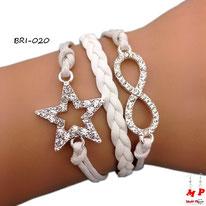 Bracelet en similicuir blanc étoile et infini argentés sertis de strass
