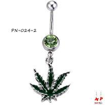 Piercing nombril à strass vert et son pendentif feuille de cannabis verte foncée en acier chirurgical