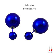 Boucles d'oreilles double perles nacrées bleues foncées