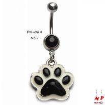 Piercing nombril pendentif empreinte de patte de chien noire