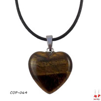 Collier à pendentif coeur en pierre d'oeil de tigre