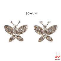 Boucles d'oreilles papillons argentés à strass