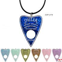 Colliers à pendentifs ouija en coeurs translucides 7 couleurs