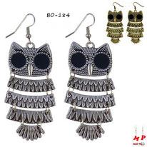 Boucles d'oreilles pendantes hiboux argentés ou bronze