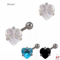 Piercing tragus et cartilage à strass en coeur 3 couleurs