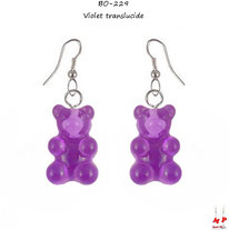 Boucles d'oreilles pendantes à oursons violets translucides en acrylique