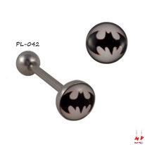 Piercing langue boule plate Batman noir et blanc