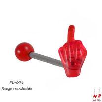 Piercing langue fuck rouge translucide en acrylique