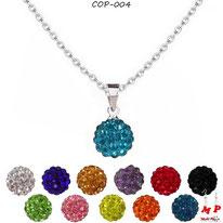 Collier pendentif perle shamballa bleue foncée et 12 autres couleurs