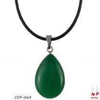Collier à pendentif goutte d'eau en pierre d'agate verte