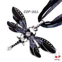Collier à pendentif libellule noire avec son cordon de soie
