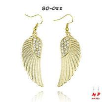 Boucles d'oreilles ailes d'ange pendantes dorées à strass