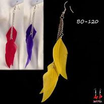 Boucles d'oreilles trois plumes jaunes, rouges ou bleues et chaines argentées