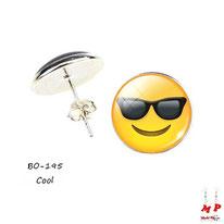 Boucles d'oreilles puces rondes emoji émoticônes smiley cool à lunettes noires