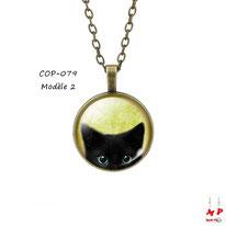 Collier à pendentif rond vintage à tête de chaton noir