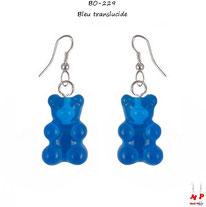 Boucles d'oreilles pendantes à oursons bleus foncés
