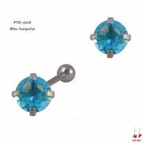 Piercing tragus et cartilage à strass rond bleu turquoise sur griffe