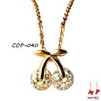 Collier à pendentif cerise dorée et cristal blanc