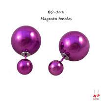 Boucles d'oreilles double perles nacrées magenta foncées
