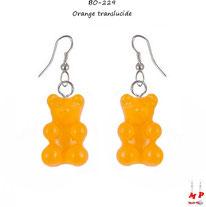 Boucles d'oreilles pendantes à oursons oranges translucides