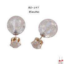 Boucles d'oreilles double strass blancs et perles blanches fissurées