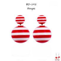 Boucles d'oreilles double perles rayées rouges et blanches