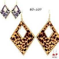 Boucles d'oreilles pendantes créoles dorées losanges léopards tachetées