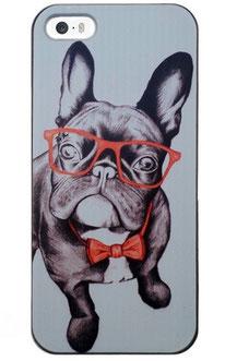 Coque iPhone 5/5s bouledogue à lunettes rouge et noeud papillon rouge