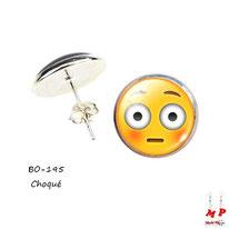 Boucles d'oreilles puces rondes emoji choqué