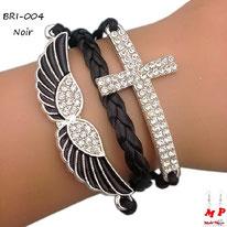 Bracelet en similicuir noir avec aile et croix sertie de strass