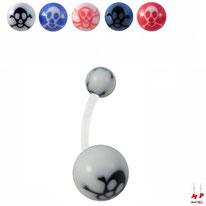 Piercings nombrils bioflex à boules acryliques têtes de morts