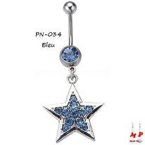 Piercing nombril pendentif étoile argentée sertie de strass bleus