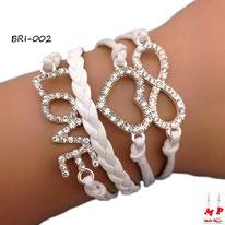Bracelet infini blanc multi-breloques love et coeur argentés à strass
