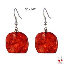 Boucles d'oreilles pendantes pierre ambre foncé