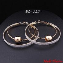 Boucles d'oreilles double anneaux dorés, paillettes argentées et perles