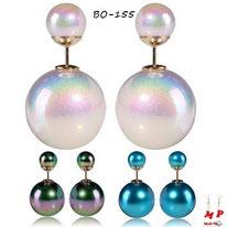 Boucles d'oreilles double perles nacrées 3 couleurs