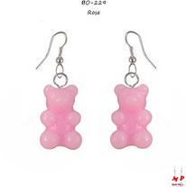 Boucles d'oreilles pendantes à oursons roses en acrylique