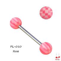 Piercing langue à boules acryliques échiquiers roses et blancs
