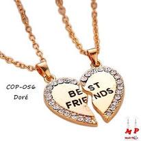 Collier à pendentif coeur doré en deux parties Best Friend