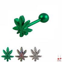 Piercing langue à feuille de cannabis en acier chirurgical 3 couleurs