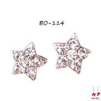 Boucles d'oreilles femmes étoiles argentées serties de strass