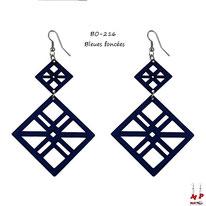 Boucles d'oreilles pendantes double cadres bleus
