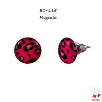 Boucles d'oreilles puces rondes léopard tacheté magenta