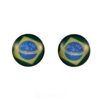 Boucles d'oreilles acier logo drapeau du Brésil